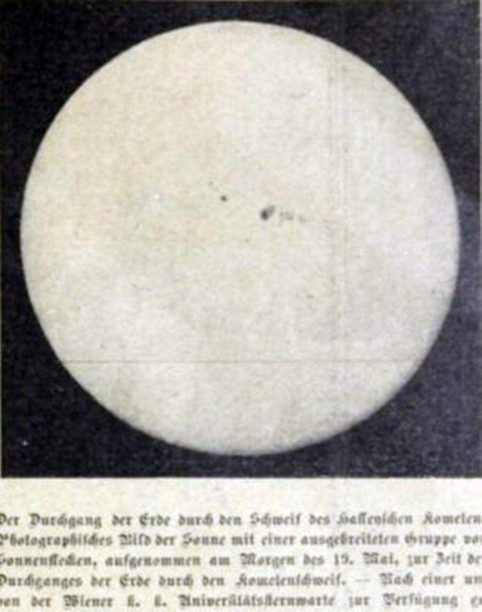 Комета Галлея на тлі Сонячного диску, Das interessante Blatt, 1910 рік