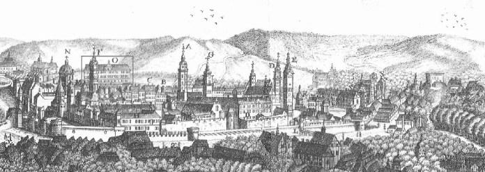 Панорама Львова із зображенням будівлі Загального шпиталю (колишнього колегіуму піярів). Рисунок початку ХІХ ст.