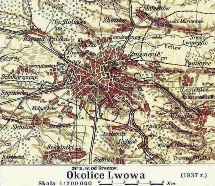 Мапа околиць Львова, 1937 р. Джерело: Вікімедіа