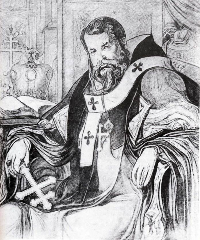 Олекса Новаківський. Князь Церкви [Другий варіант]. 1919 р. Полотно, вугіль.
