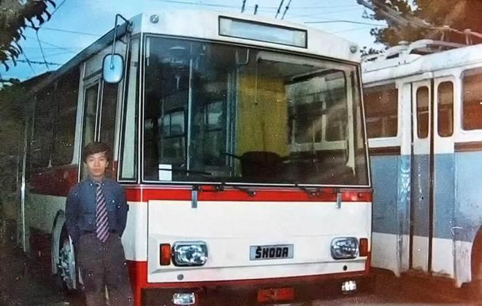 Тролейбус «Škoda 14Тr» однієї із перших модифікацій на виставці в місті Пекіні (Китай). Фото середини 1980-х років