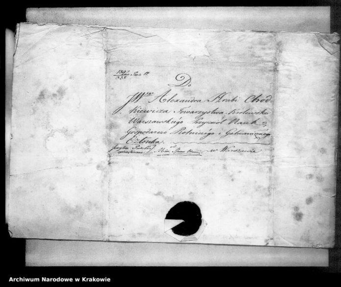 Документ, у якому ідеться про членство Ходкевича у Варшавському Товаристві приятелів наук