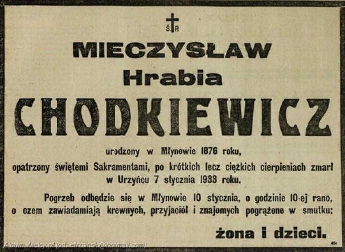 """Некролог на смерть Мечислава – правнука Олександра Ходкевича в """"Кур'єрі варшавському"""", де повідомляється, що поховання відбудеться у Млинові 10 січня 1933 року о 10-й годині"""