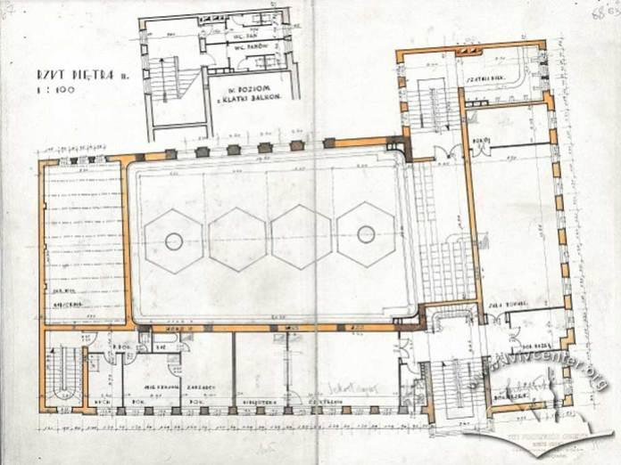 Проект робітничого клубу працівників комунальних працівників Львова. План другого поверху із балконом глядацької зали