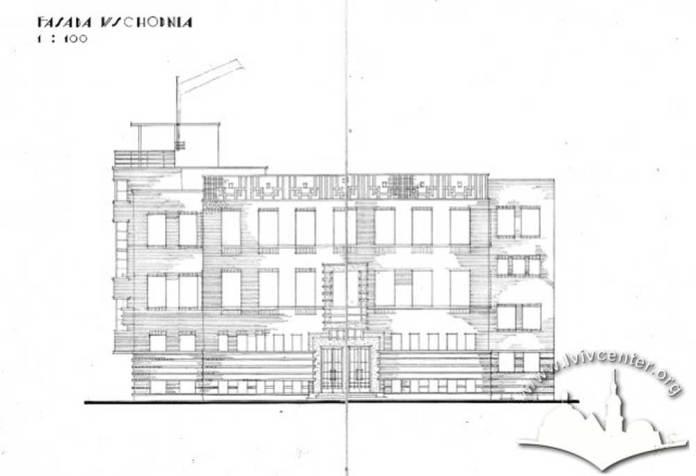 Проект робітничого клубу працівників комунальних працівників Львова. Східний фасад