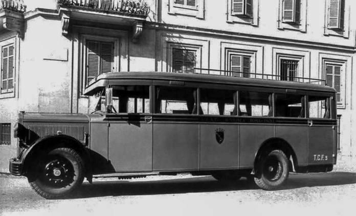 Автобус «Lancia Omicron» – саме такі автобус італійського виробництва почали працювати на регулярних маршрутах Львова в 1928 р.