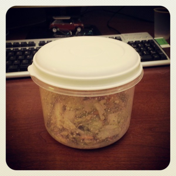 This is not a Tupperware container. It's a home made salad tosser. #nomnomnom