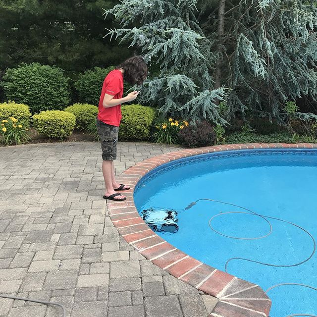 The new robot pool cleaner can also be controlled by a phone app. What? What? What?