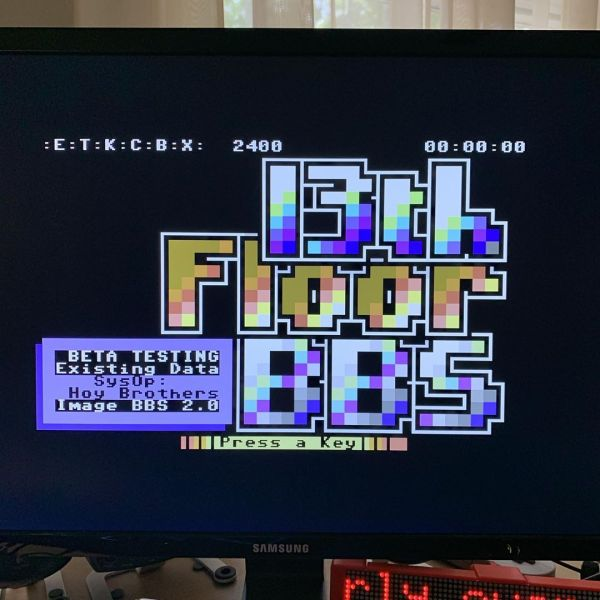Emulated Commodore 64 connecting to an emulated Commodore 64 running BBS software 😈
