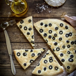 Italian Focaccia with Olives and Rosemary