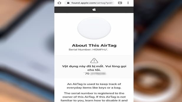 Place the AirTag over the NFC-connected location of your mobile device