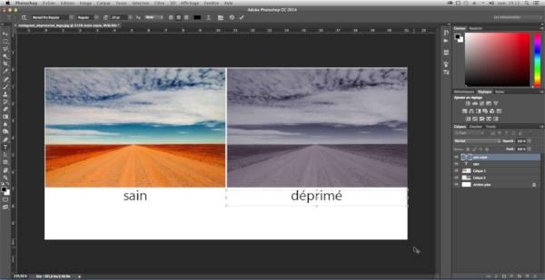 Photoshop éditant une image: notez les calques empilés contenant les différents éléments.