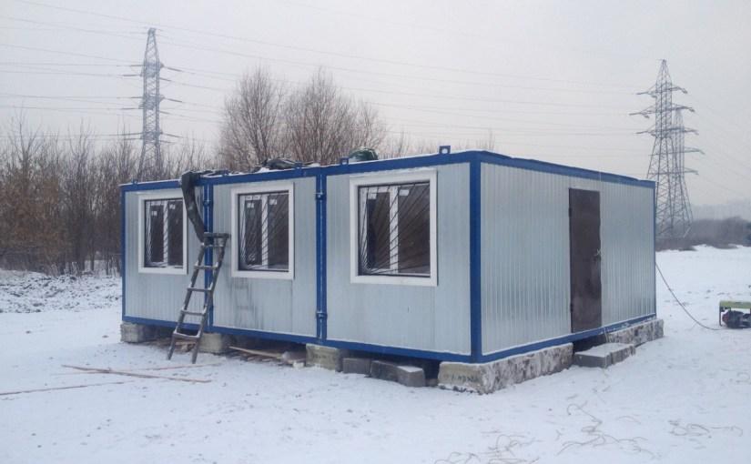 Установка служебного здания (7 февраля 2014 года)