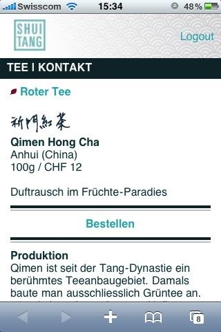 Qimen Hong Cha auf dem iPhone