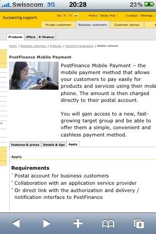 Screen nach Klick auf SMS Link