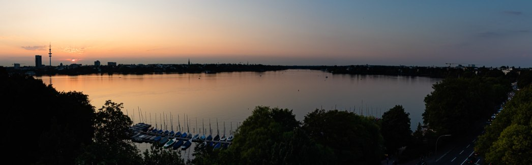 Alster am Abend (Panorama)