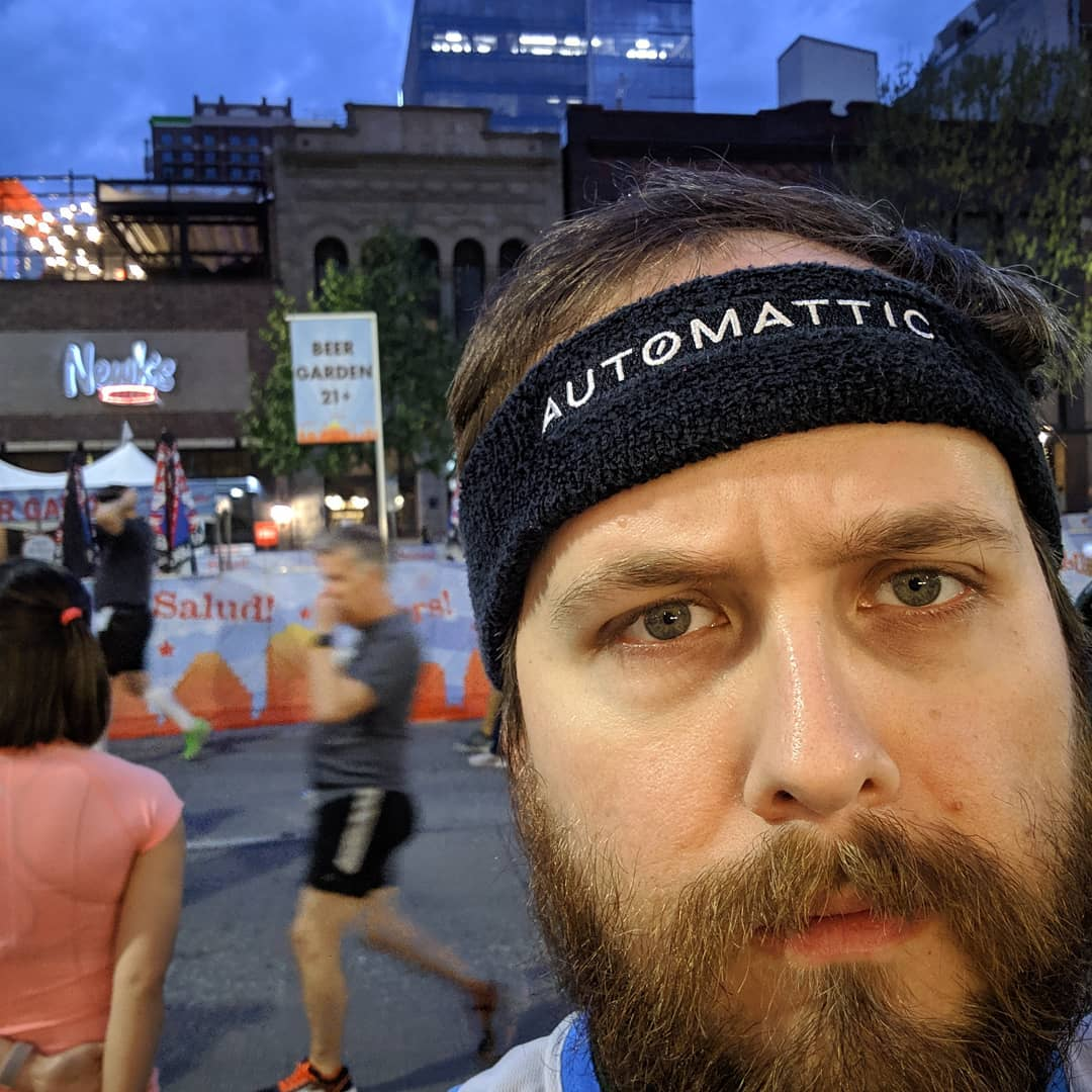 Of all my Automattic or WordPress merch, I love this little headband more than is logical. I grabbed a few and wore them during almost every work out since 2013.