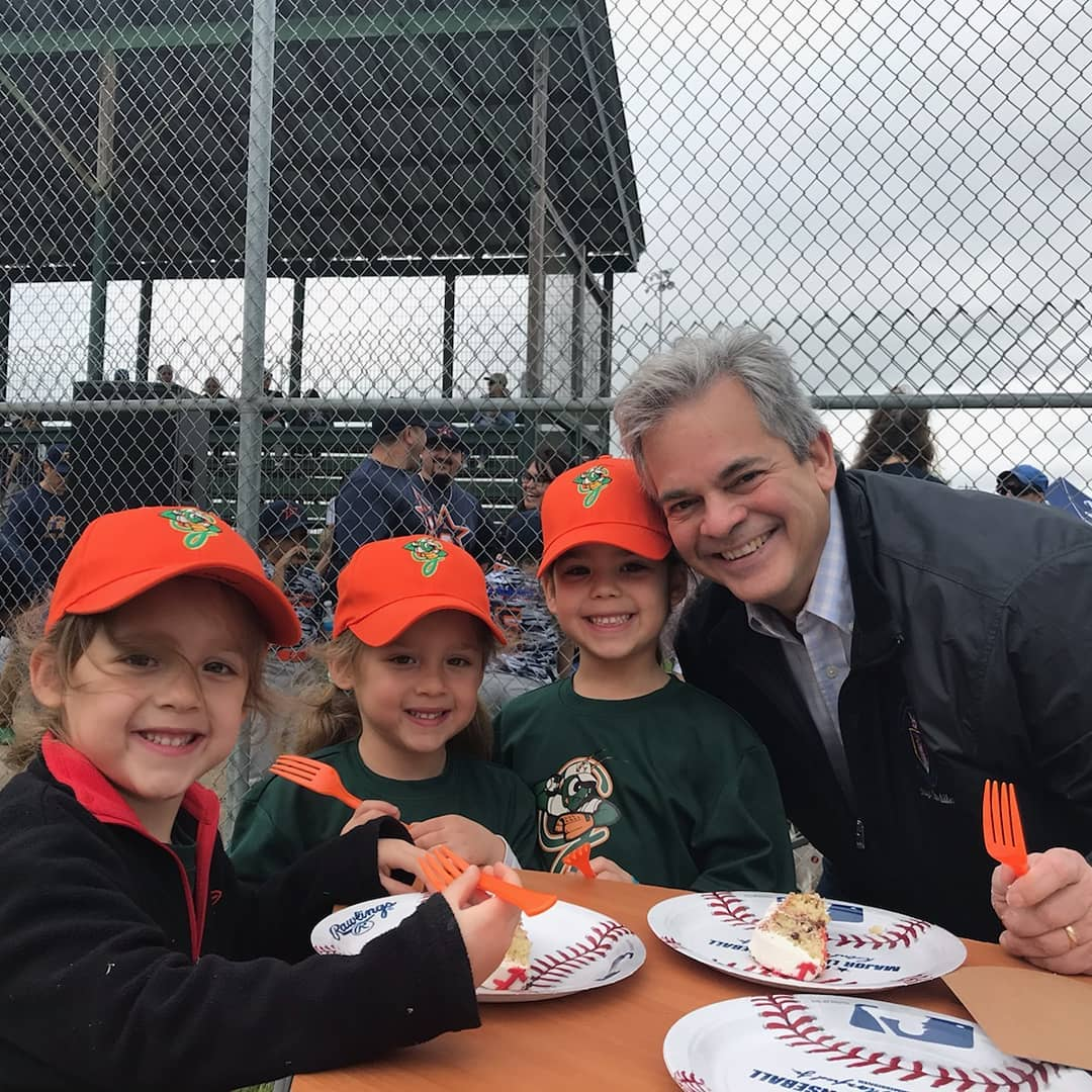 Mayor Adler shared a little piece of his cake with my Grasshopper girls. Their game was before the ceremony and the older two were off warming up for their games afterwards