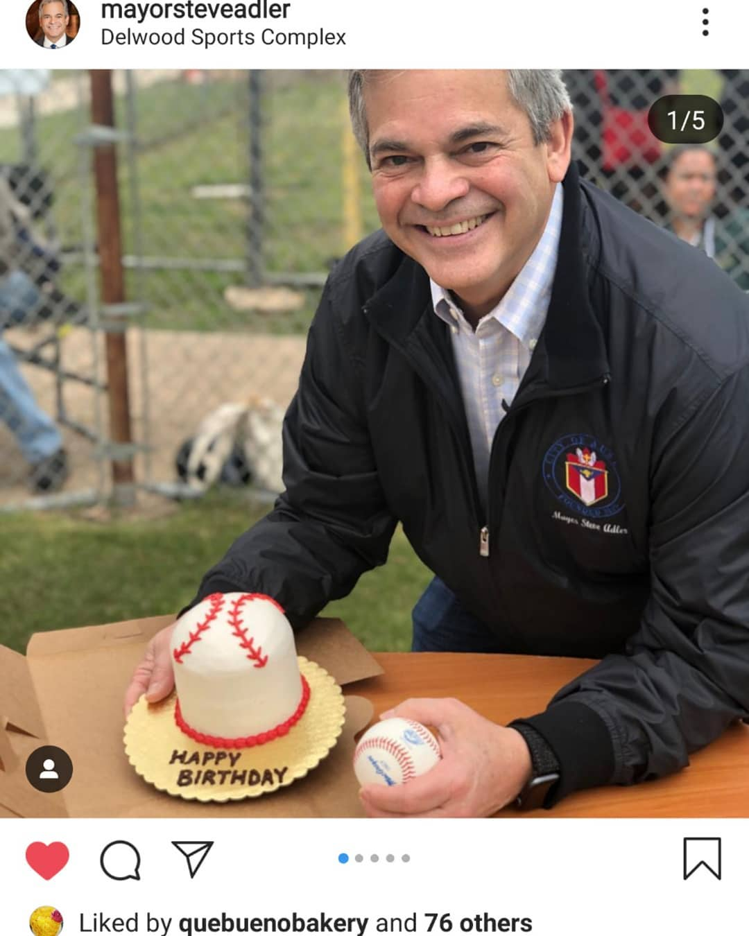 That's Vanessa's cake with the mayor! Thanks to @mayorsteveadler for helping us celebrate Opening Day at Delwood.