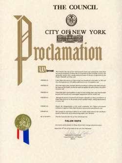 Falun Dafa Proclamation: New York City