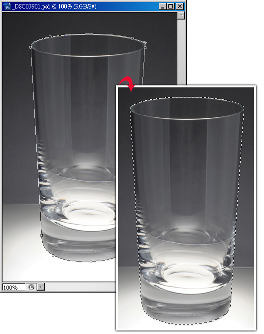Photoshop 影像設計  - Photoshop 去背教學 - 色版去背 - 透明玻璃杯去背 - glassClearbk01