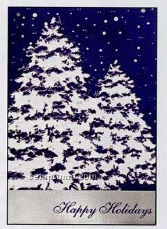 Snow Covered Trees Happy Holidays Greeting Card By 1001