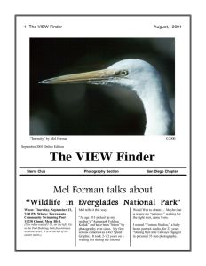 September 2001 Viewfinder Photo Club Newsletter
