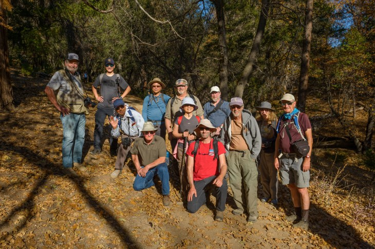 Our group on the Observatory Trail at Palomar Mountain for our fall color hike, November 2019.