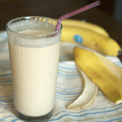 Peanut butter and banana combine with almond milk for the perfect smoothie