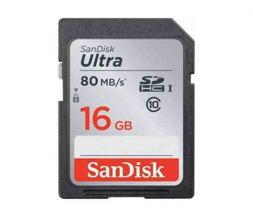 SanDisk 16GB Ultra UHS I SDHC 80 1 - SanDisk 16GB Ultra UHS-I SDHC 80 MB/s Memory Card (Class 10)