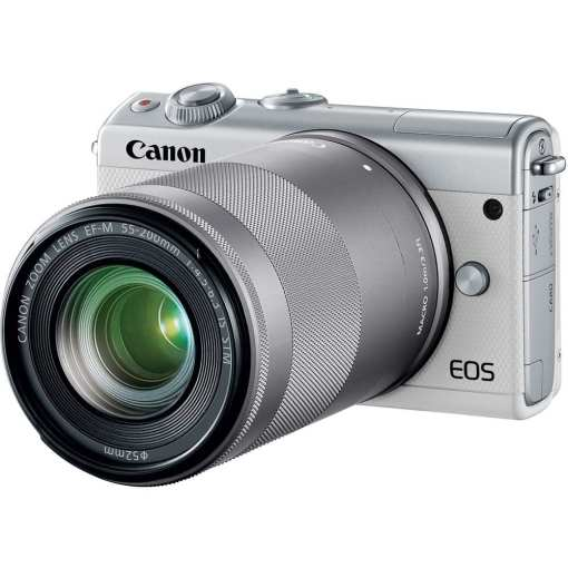 Canon EOS M100 Mirrorless Digital Camera with 15 45mm and 55 200mm Lenses White 010 - Canon EOS M100 Mirrorless Digital Camera with 15-45mm and 55-200mm Lenses (White)
