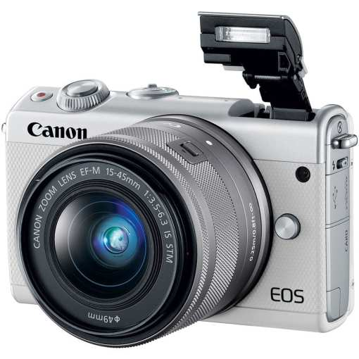 Canon EOS M100 Mirrorless Digital Camera with 15 45mm and 55 200mm Lenses White 03 - Canon EOS M100 Mirrorless Digital Camera with 15-45mm and 55-200mm Lenses (White)