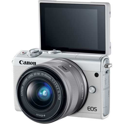 Canon EOS M100 Mirrorless Digital Camera with 15 45mm and 55 200mm Lenses White 04 - Canon EOS M100 Mirrorless Digital Camera with 15-45mm and 55-200mm Lenses (White)