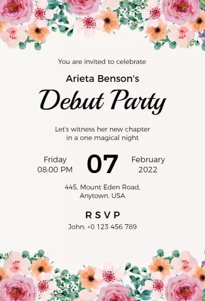 debut invitation templates photoadking