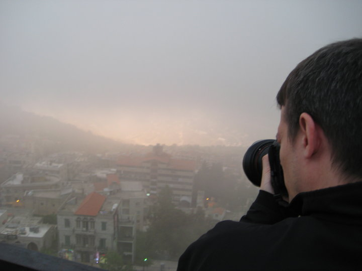 Photographing Beirut, Lebanon covert in fog from a spot above the city