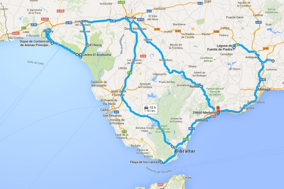 The roads traveled during my trip to Spain in January 2016.