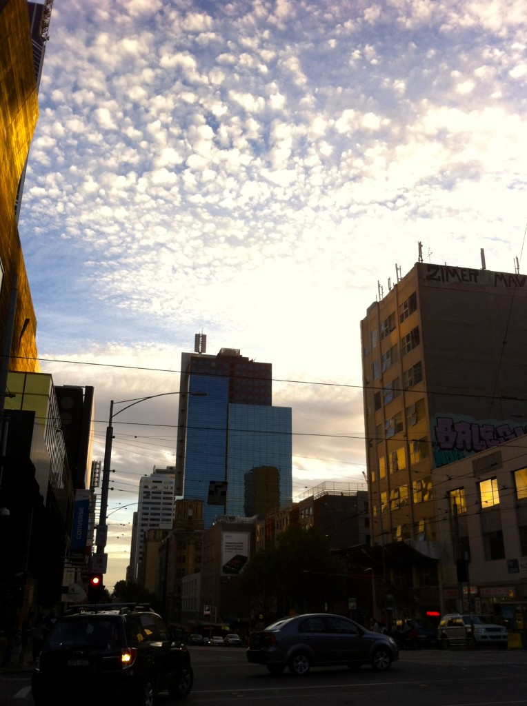 Buildings in Melbourne with blue sky at sunset