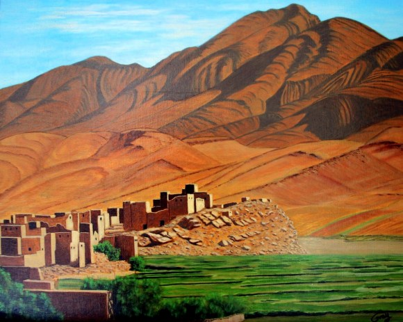 Ian: After a winding drive through the orange walled Todra Gorge, we finally came upon the open and sunlit village of Tamtattouchte. Here, painted from a photograph taken that morning, is my interpretation of the bare-walled village nestled beneath majestically barren Atlas Mountains.