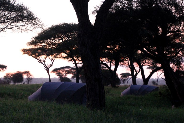 sunrise over tents
