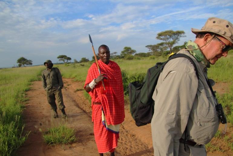 on a walking safari