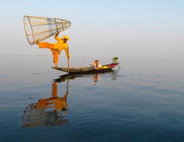 Intha fisherman leg rower