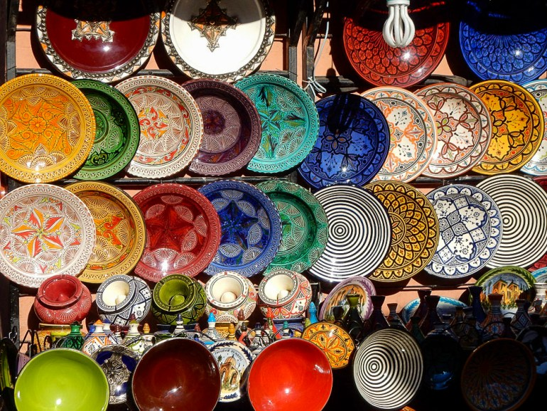 colorful plates in the markets of Essaouira