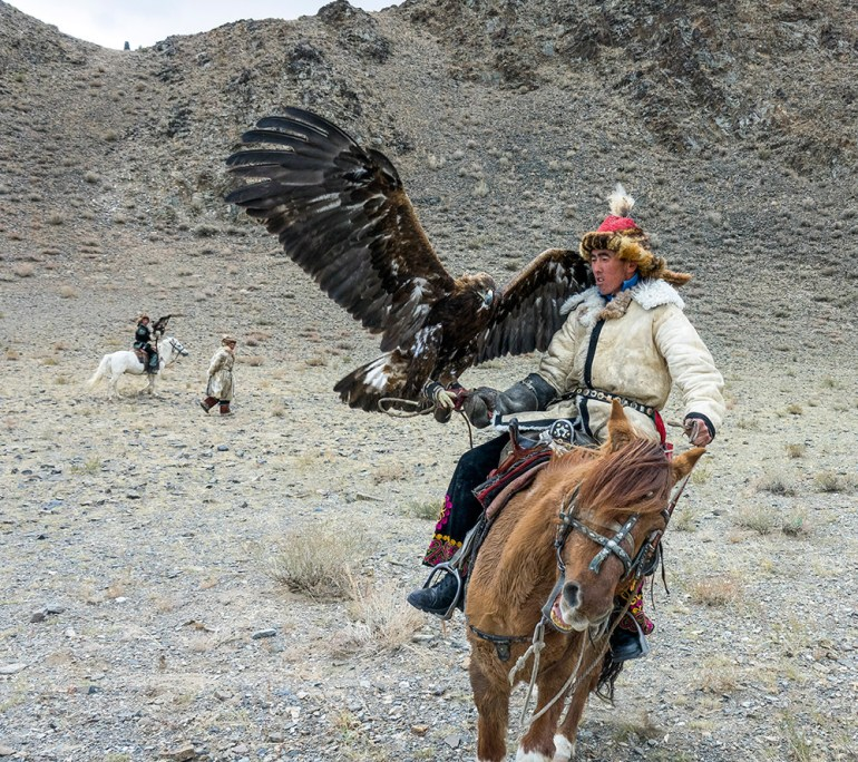 golden eagle festival man with eagle