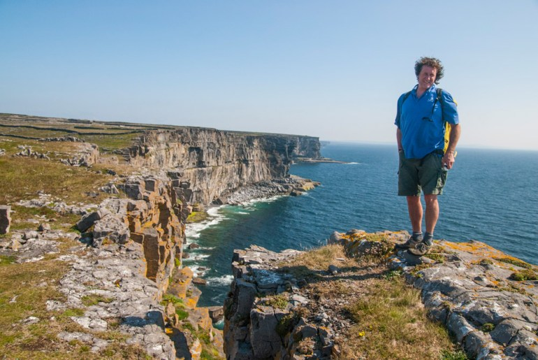 tour guide standing on rock on Inishmore Ireland