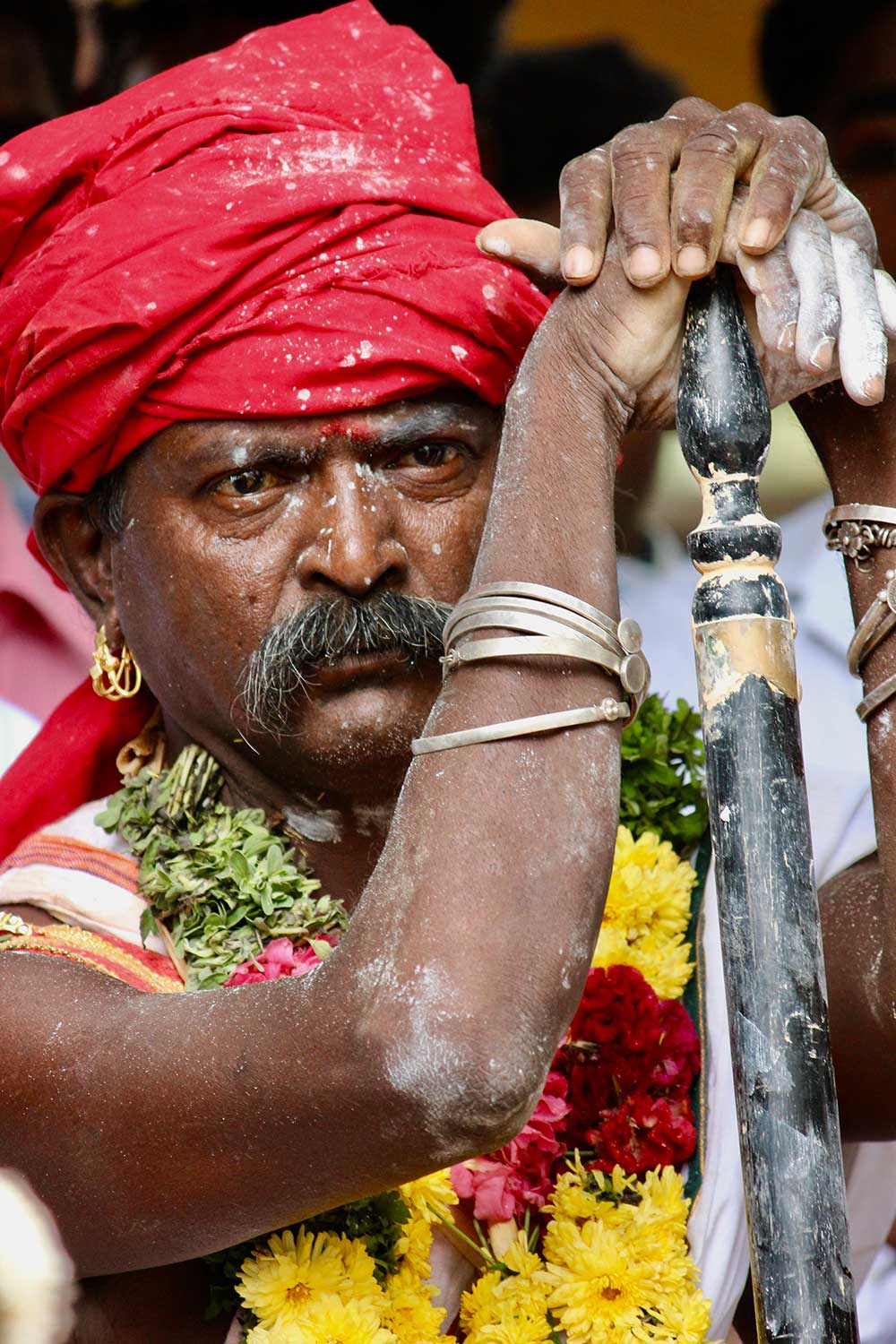 Man at the Pongal Festival in India