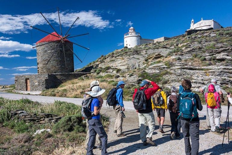 Hiking near windmills on the Cyclades Greece