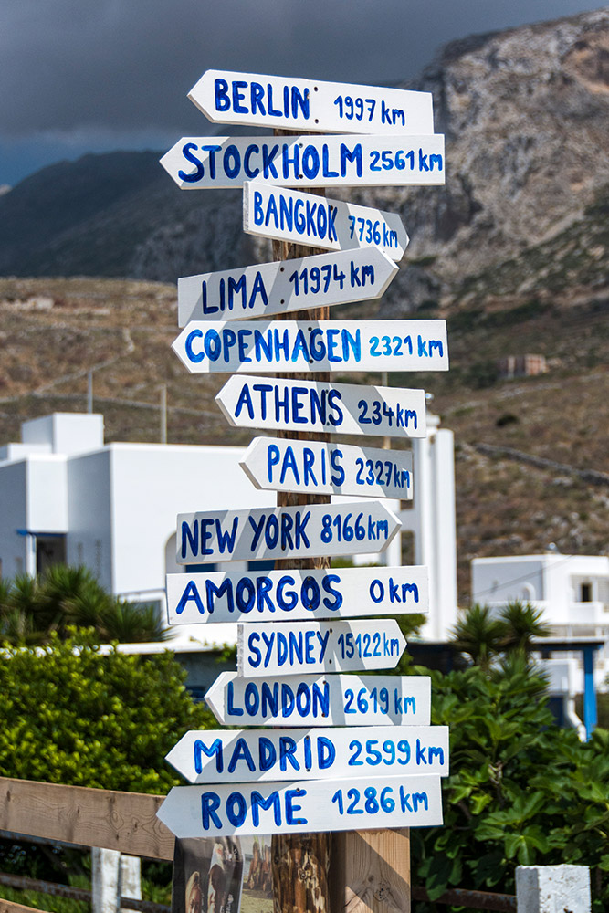 Street sign in Amorgos Greece