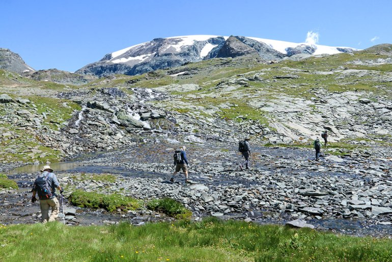 Crossing a Stream Monte Rosa Italy