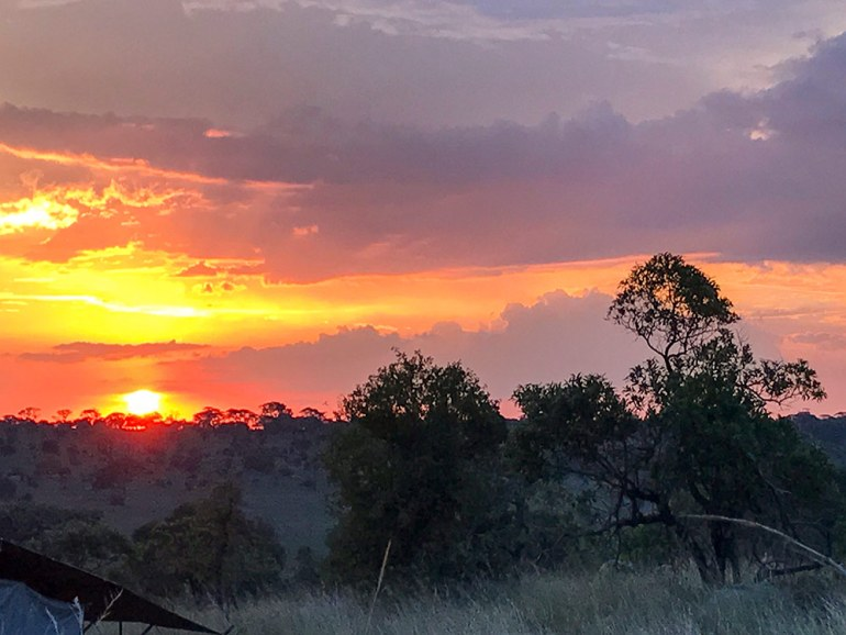Sunset from camp in the Serengeti Tanzania