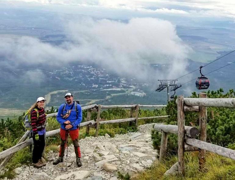 hikers and gondola